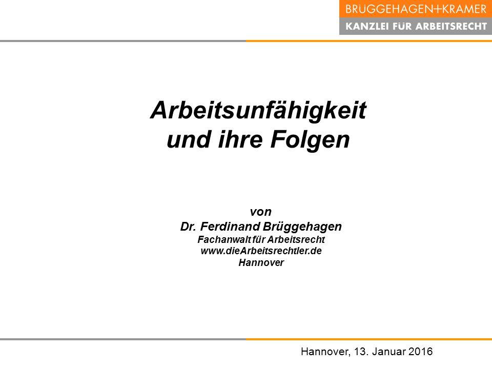 Dr. Ferdinand Brüggehagen Fachanwalt für Arbeitsrecht