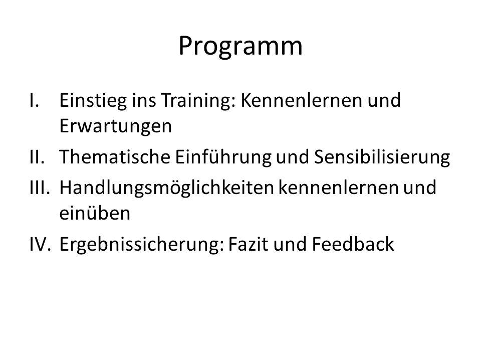 Programm Einstieg ins Training: Kennenlernen und Erwartungen