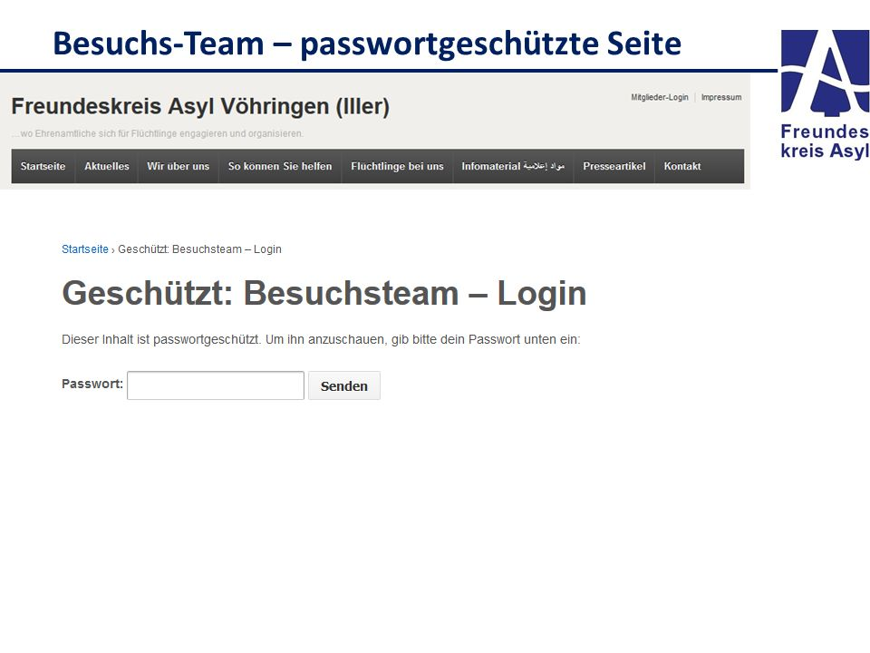 Besuchs-Team – passwortgeschützte Seite
