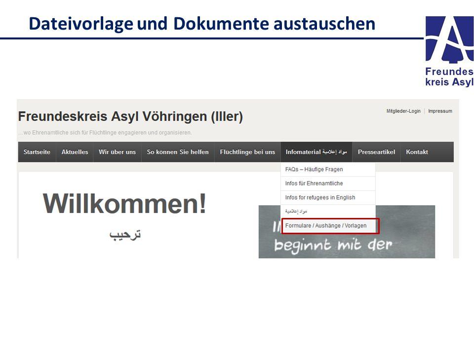 Dateivorlage und Dokumente austauschen