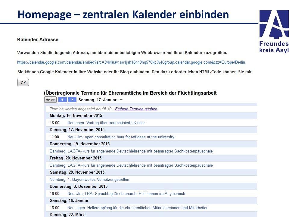 Homepage – zentralen Kalender einbinden
