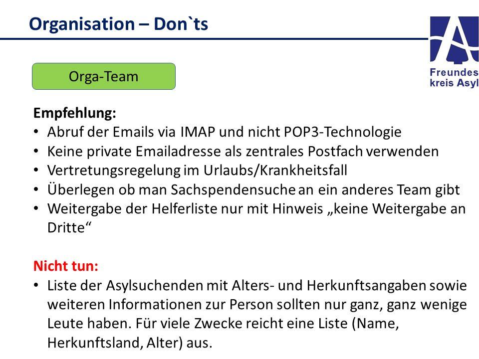 Organisation – Don`ts Orga-Team Empfehlung: