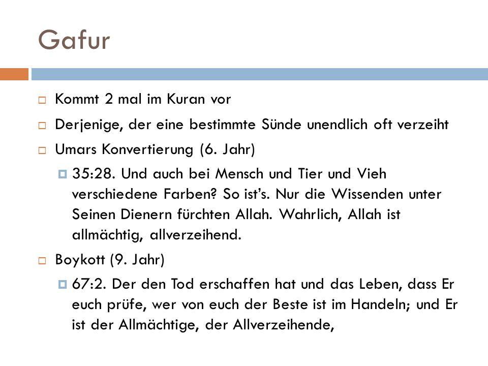 Gafur Kommt 2 mal im Kuran vor