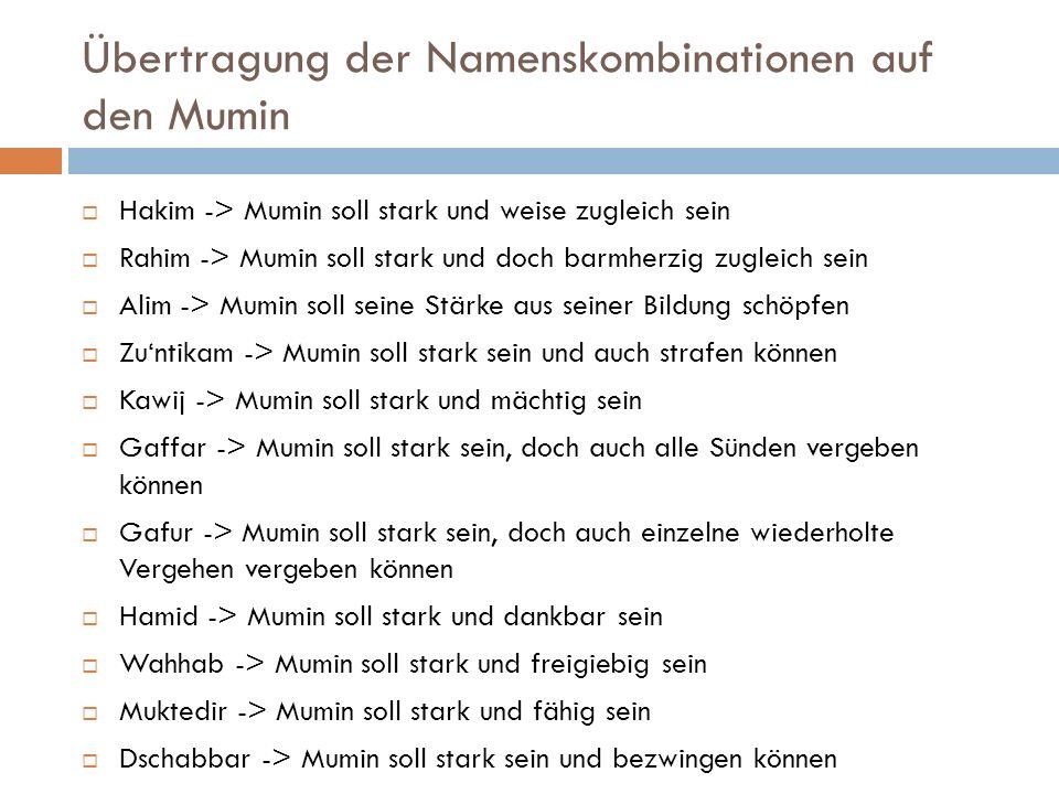 Übertragung der Namenskombinationen auf den Mumin