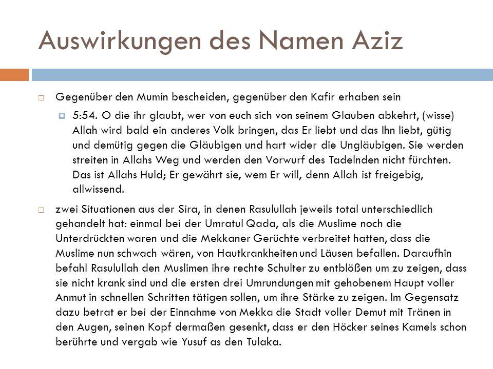 Auswirkungen des Namen Aziz
