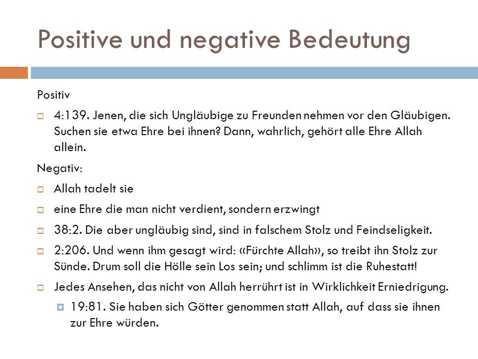 Positive und negative Bedeutung