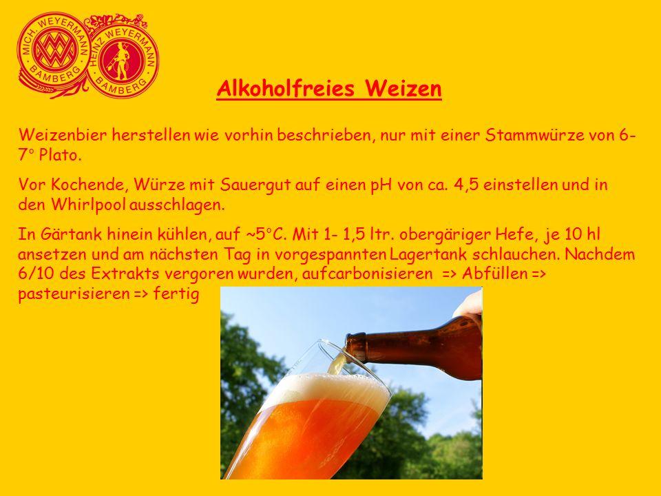 Alkoholfreies Weizen Weizenbier herstellen wie vorhin beschrieben, nur mit einer Stammwürze von 6- 7° Plato.