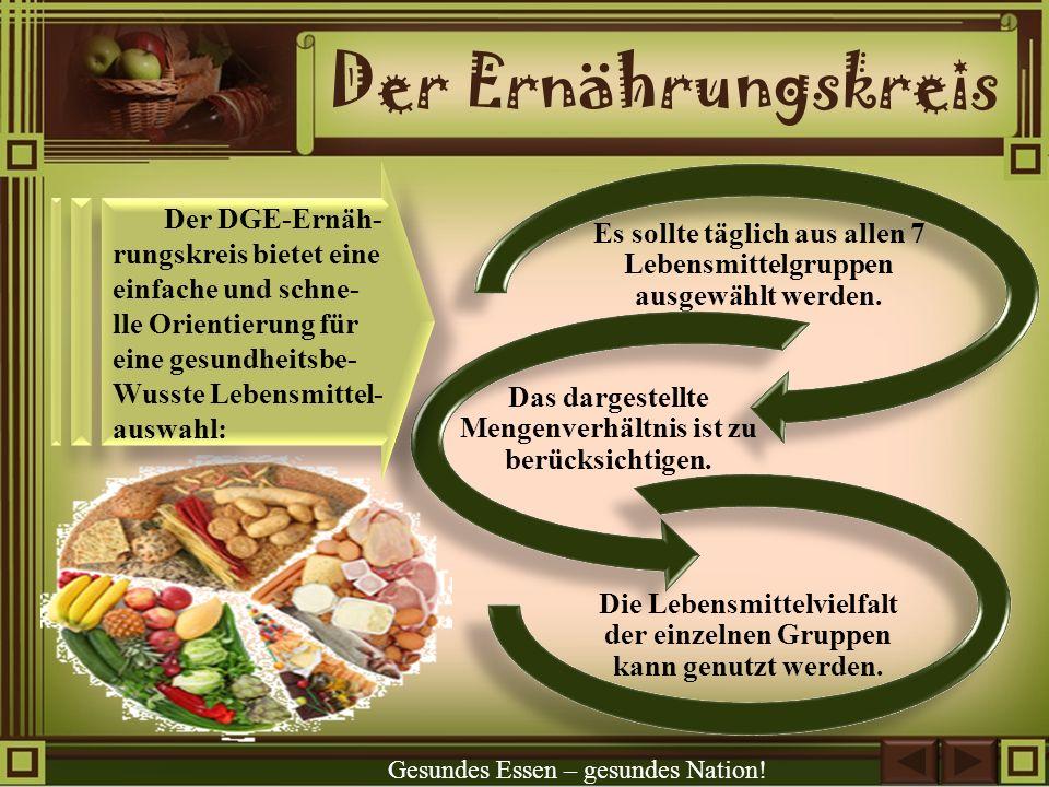 Der Ernährungskreis Der DGE-Ernäh- rungskreis bietet eine einfache und schne- lle Orientierung für eine gesundheitsbe-