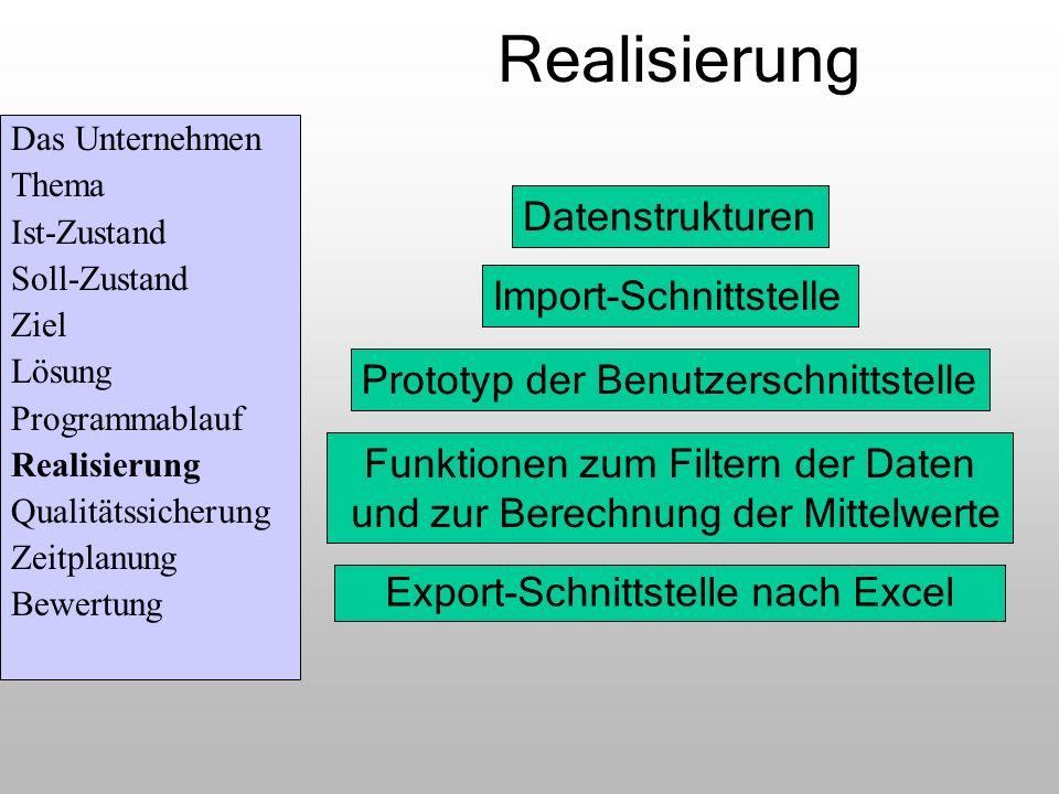 Realisierung Datenstrukturen Import-Schnittstelle