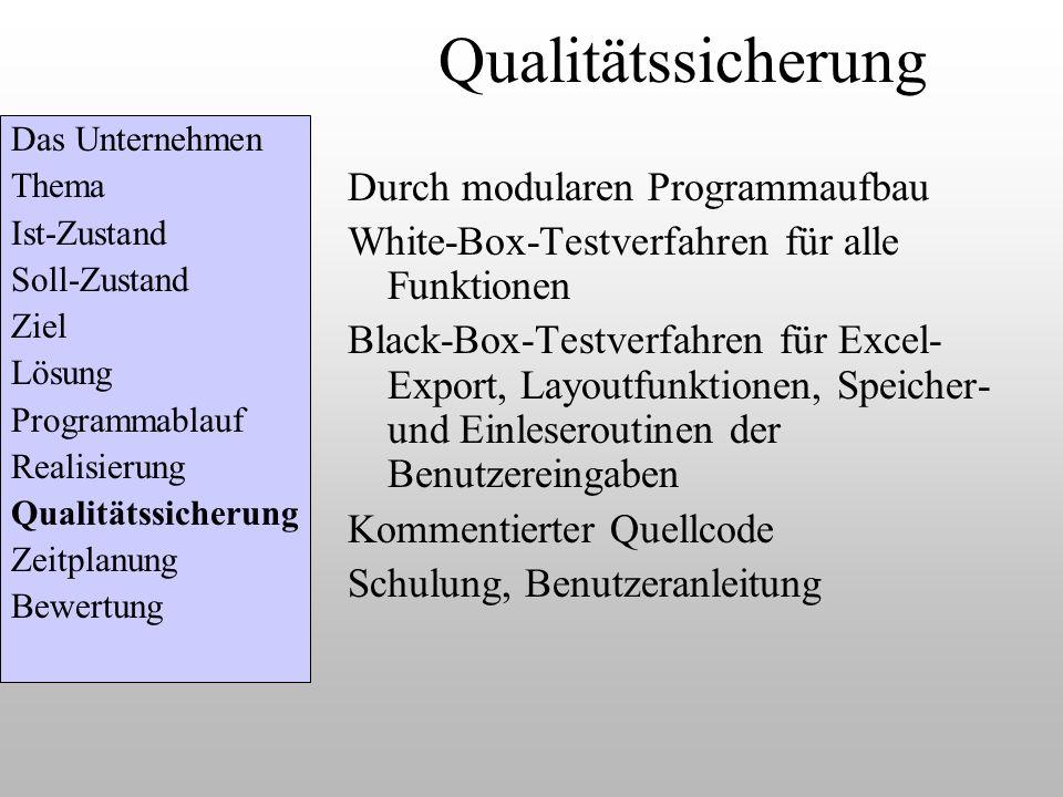 Qualitätssicherung Durch modularen Programmaufbau