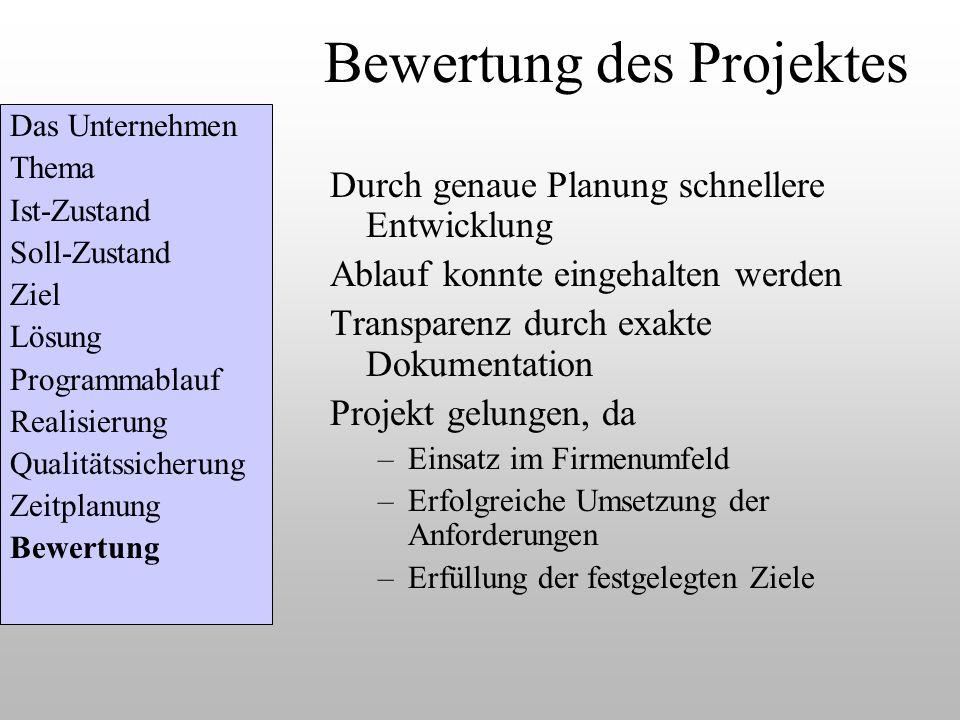 Bewertung des Projektes