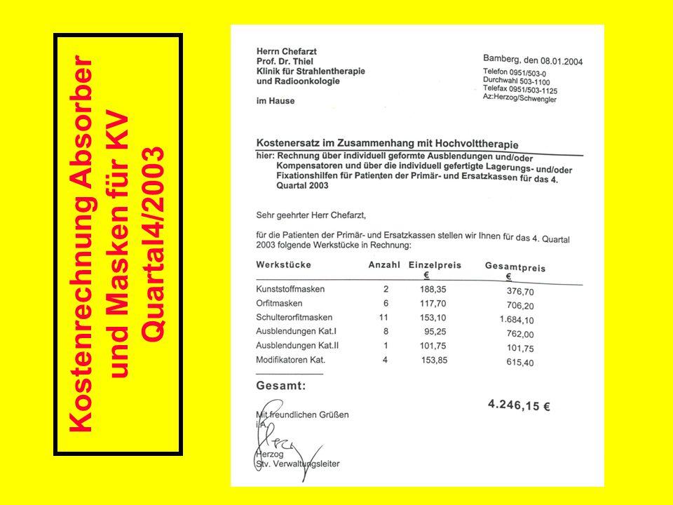 Kostenrechnung Absorber und Masken für KV Quartal4/2003