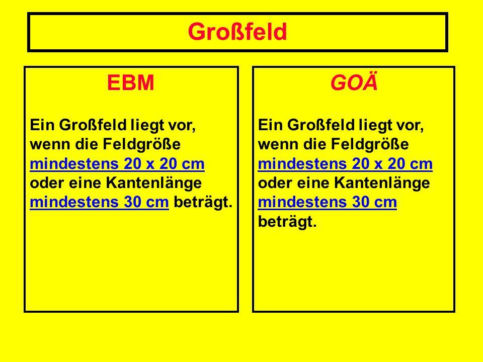 Großfeld EBM. Ein Großfeld liegt vor, wenn die Feldgröße mindestens 20 x 20 cm oder eine Kantenlänge mindestens 30 cm beträgt.