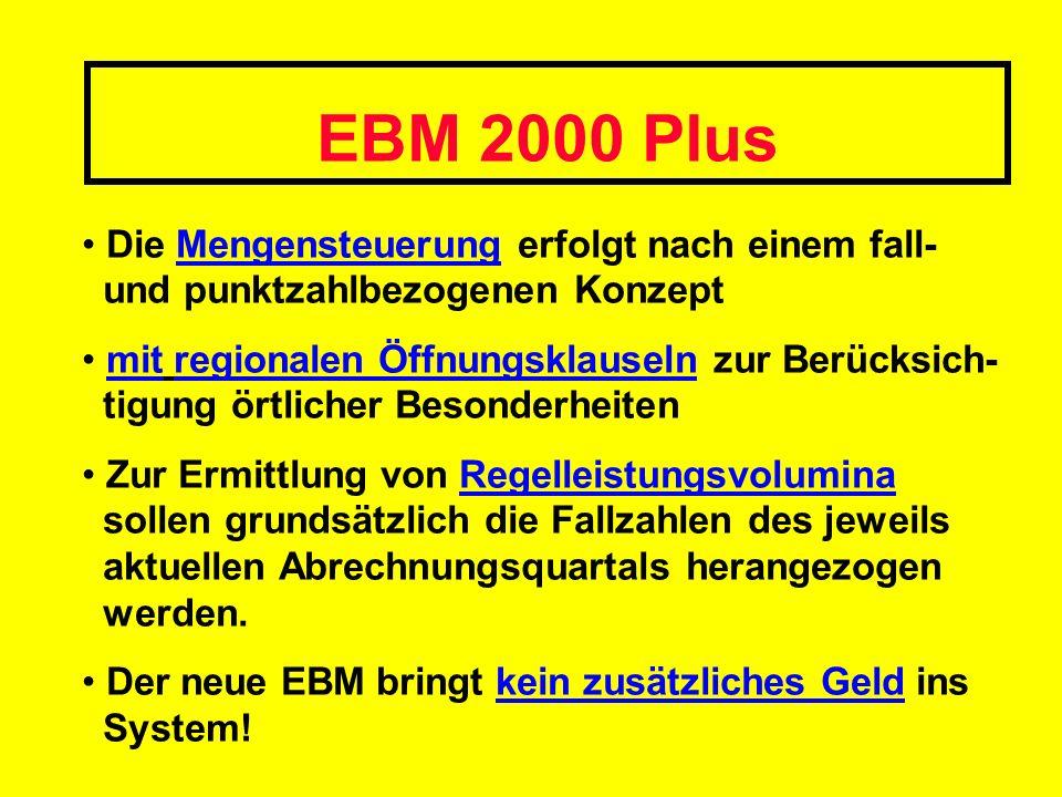 EBM 2000 Plus Die Mengensteuerung erfolgt nach einem fall- und punktzahlbezogenen Konzept.