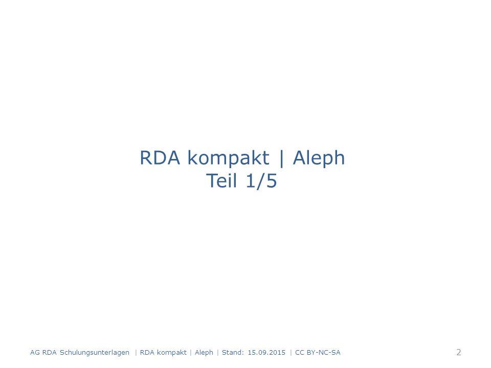 RDA kompakt | Aleph Teil 1/5
