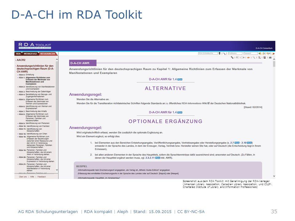 D-A-CH im RDA Toolkit Ein Beispiel aus den D-A-CH
