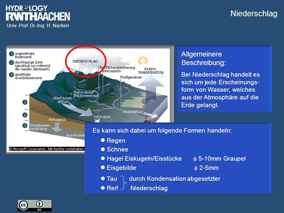 Niederschlag Allgemeinere Beschreibung:
