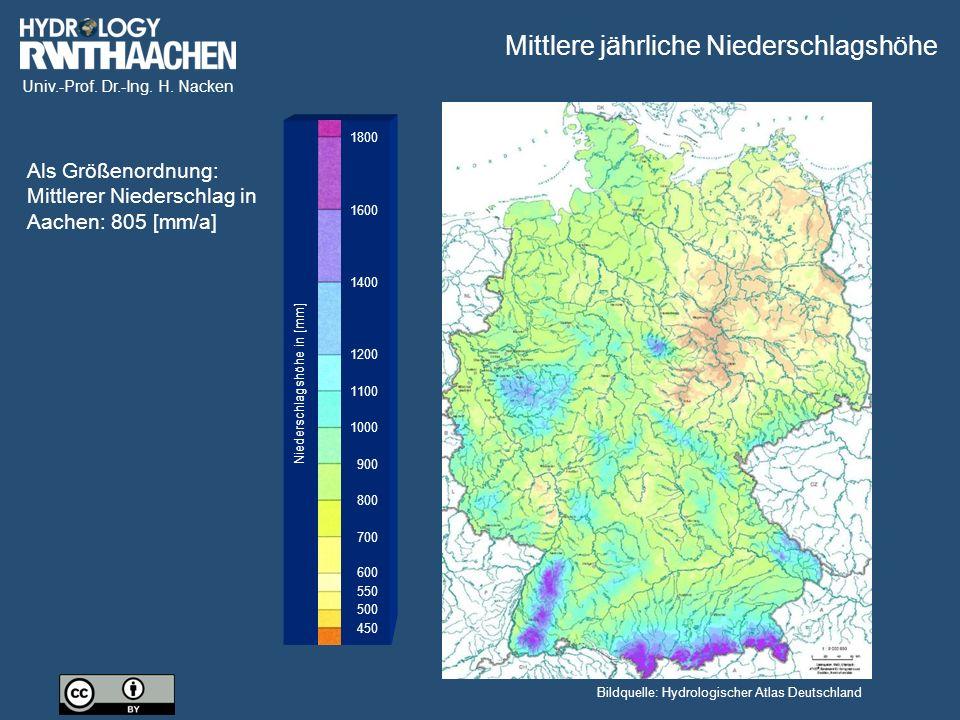 Mittlere jährliche Niederschlagshöhe