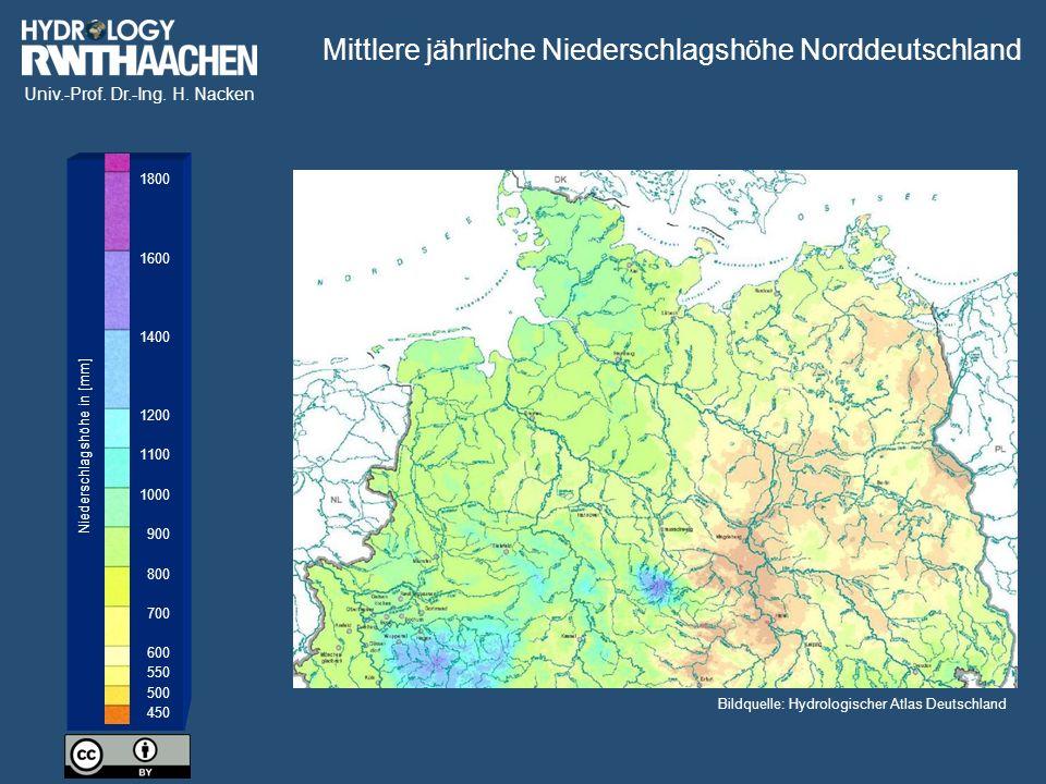 Mittlere jährliche Niederschlagshöhe Norddeutschland
