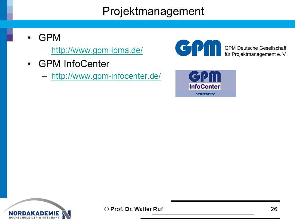 Projektmanagement GPM GPM InfoCenter http://www.gpm-ipma.de/