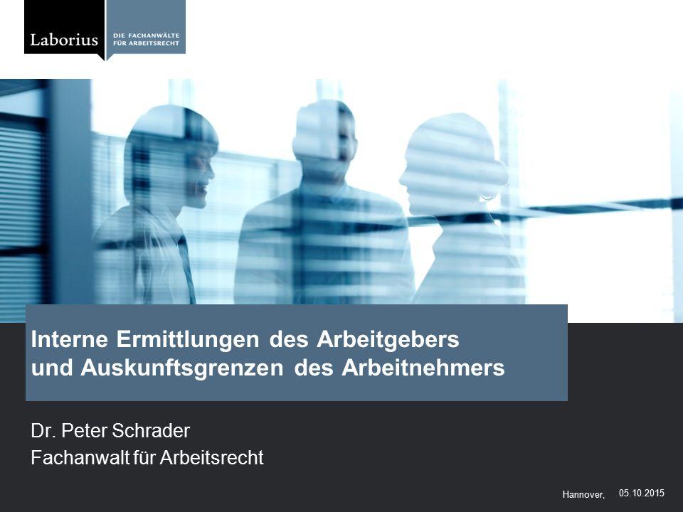 Dr. Peter Schrader Fachanwalt für Arbeitsrecht