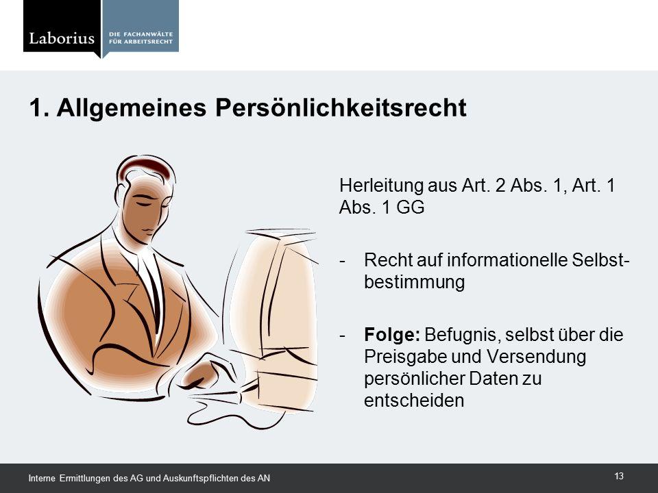 1. Allgemeines Persönlichkeitsrecht