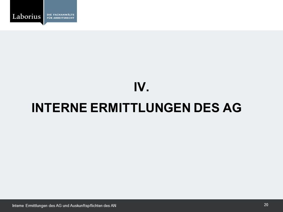 Interne Ermittlungen des AG