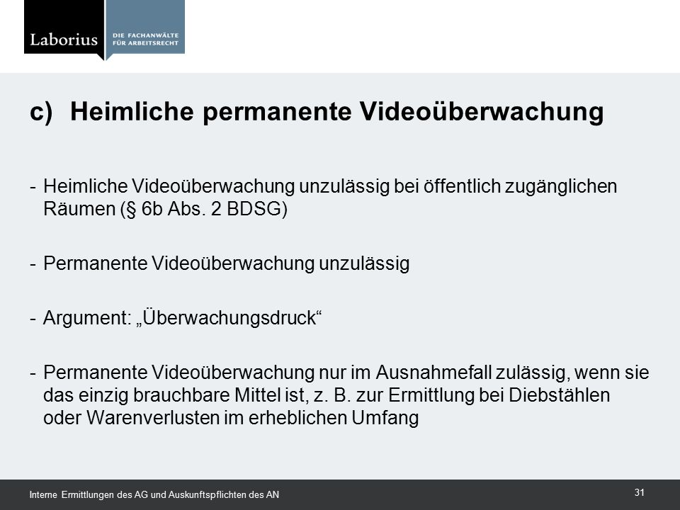 c) Heimliche permanente Videoüberwachung