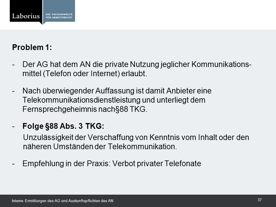 Empfehlung in der Praxis: Verbot privater Telefonate
