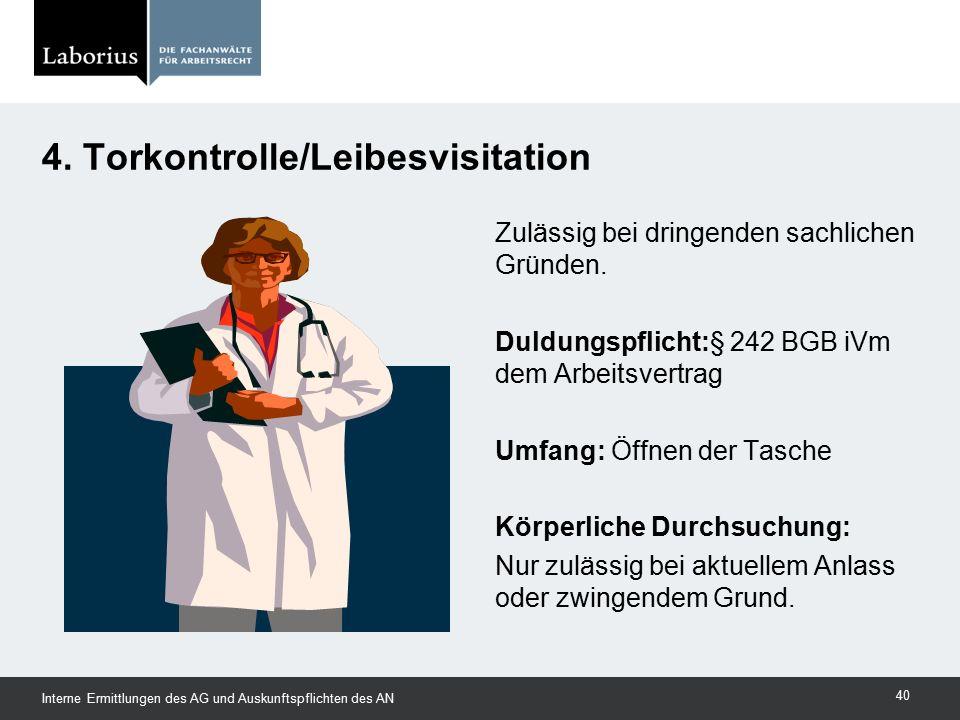 4. Torkontrolle/Leibesvisitation