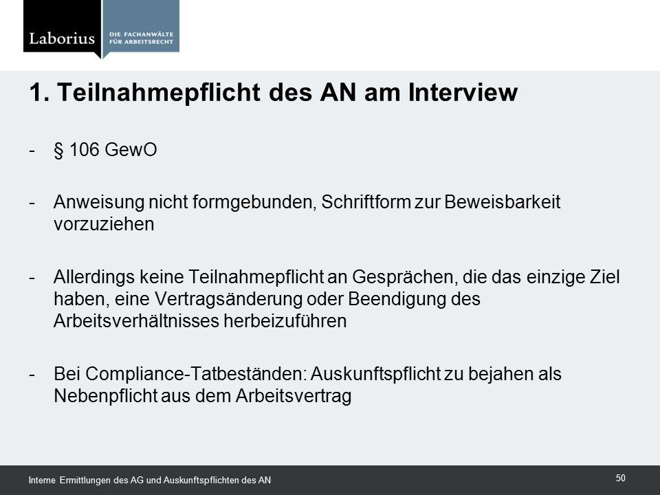 1. Teilnahmepflicht des AN am Interview