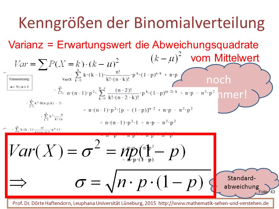 Kenngrößen der Binomialverteilung