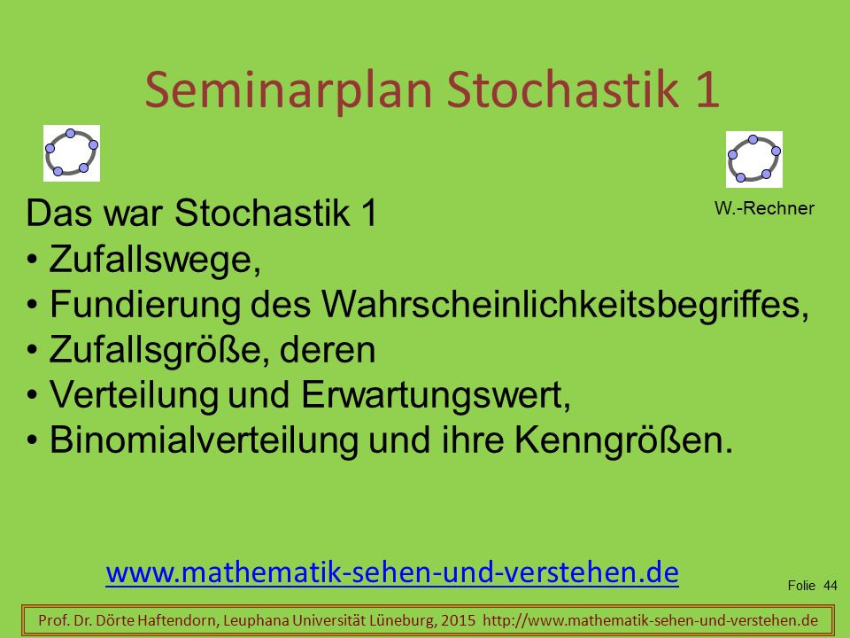 Seminarplan Stochastik 1