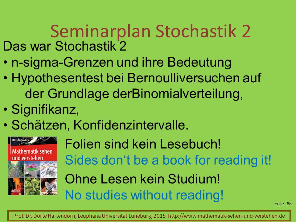 Seminarplan Stochastik 2