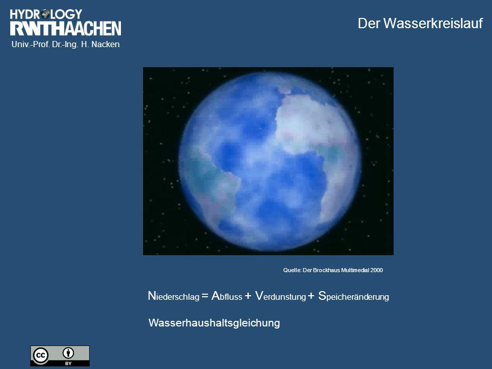 Der Wasserkreislauf Quelle: Der Brockhaus Multimedial 2000. Niederschlag = Abfluss + Verdunstung + Speicheränderung.