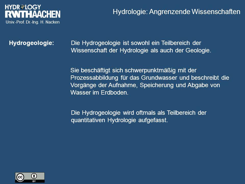 Hydrologie: Angrenzende Wissenschaften