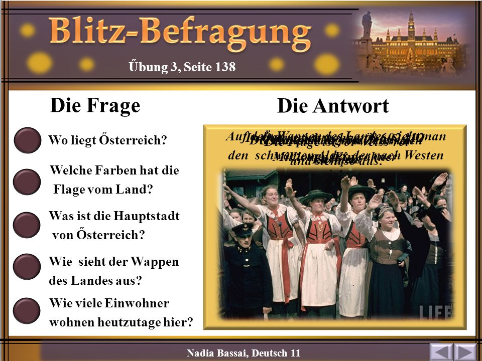 Blitz-Befragung Die Frage Die Antwort Űbung 3, Seite 138
