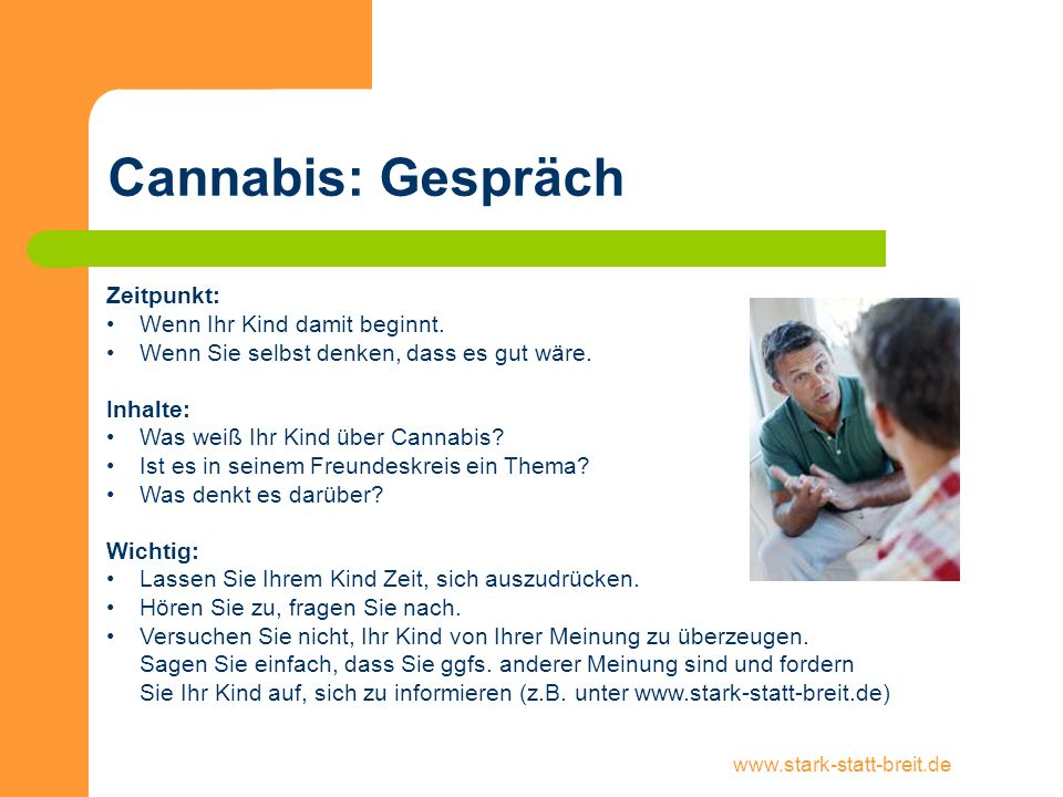 Cannabis: Gespräch Zeitpunkt: Wenn Ihr Kind damit beginnt.