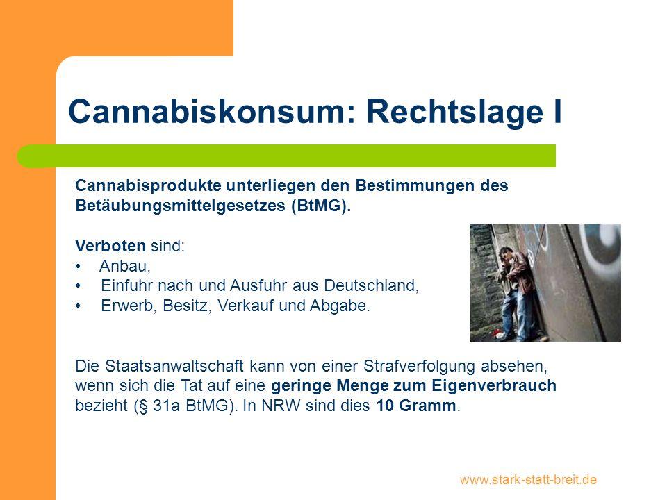 Cannabiskonsum: Rechtslage I