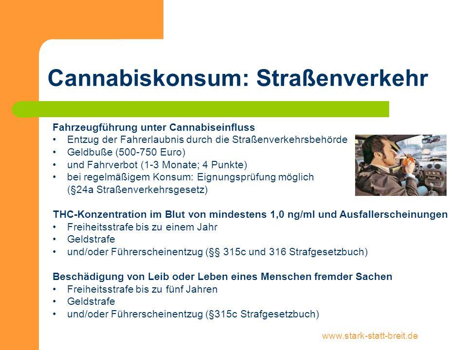 Cannabiskonsum: Straßenverkehr
