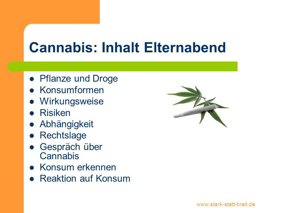 Cannabis: Inhalt Elternabend
