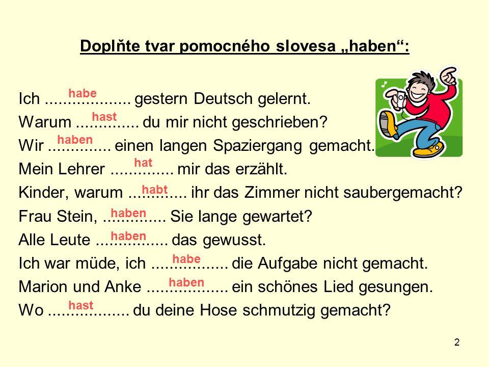 """Doplňte tvar pomocného slovesa """"haben :"""