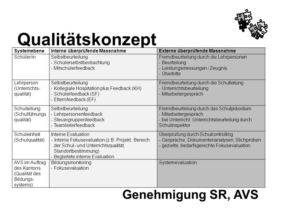 Qualitätskonzept Genehmigung SR, AVS Systemebene