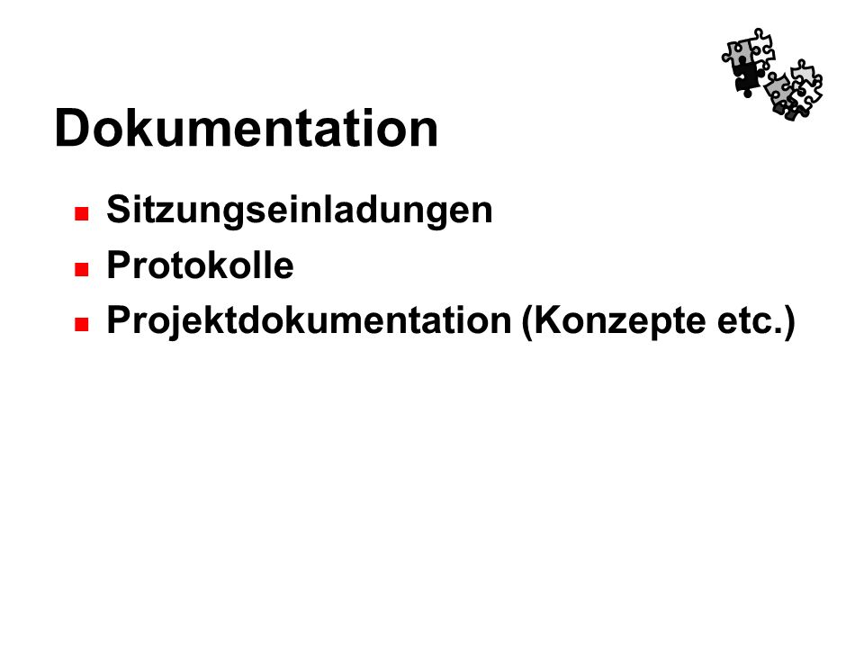 Dokumentation Sitzungseinladungen Protokolle