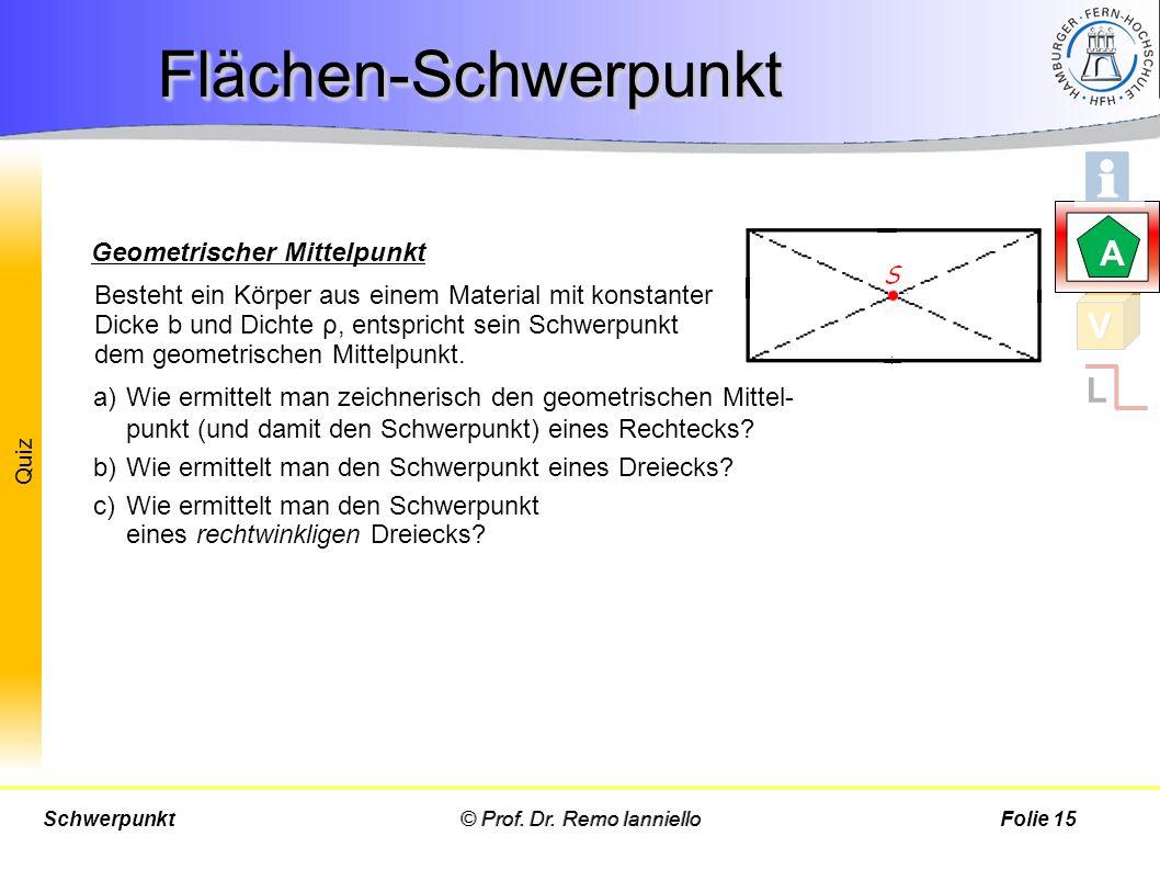 Flächen-Schwerpunkt A V L Geometrischer Mittelpunkt