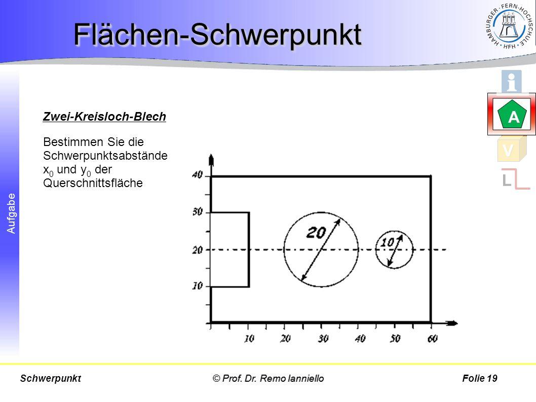 Flächen-Schwerpunkt A V L Zwei-Kreisloch-Blech