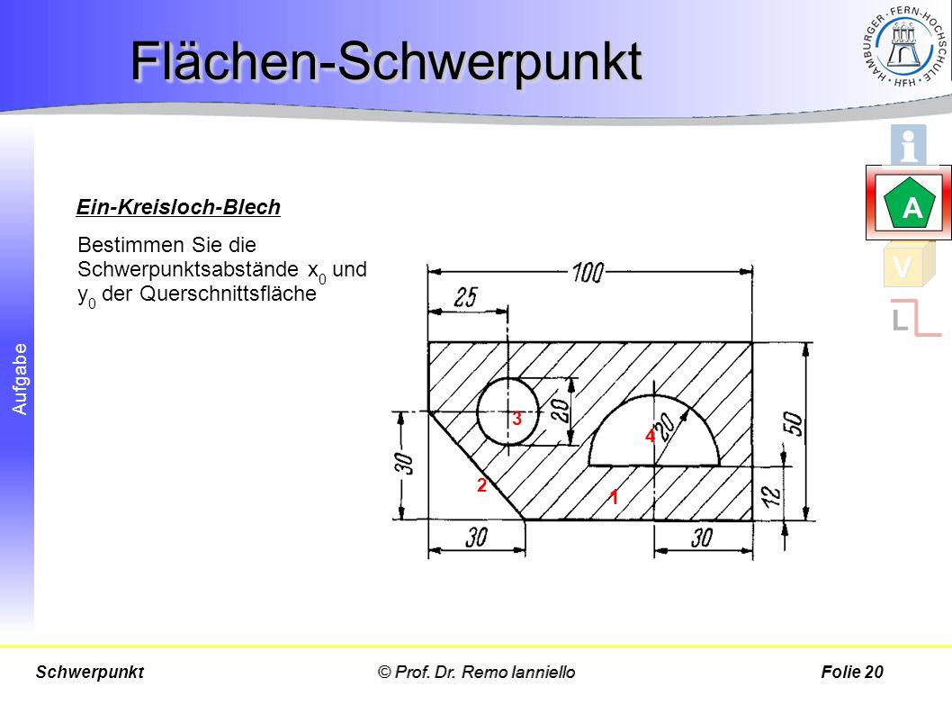 Flächen-Schwerpunkt A V L Ein-Kreisloch-Blech