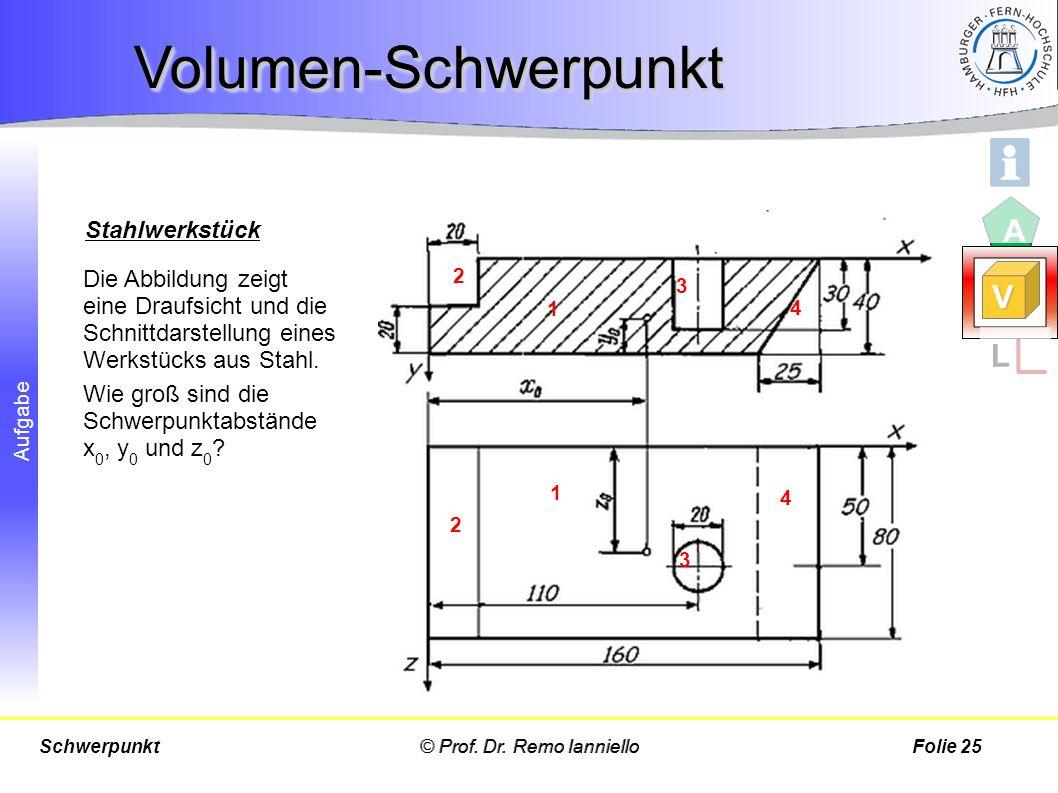 Volumen-Schwerpunkt A V L Stahlwerkstück