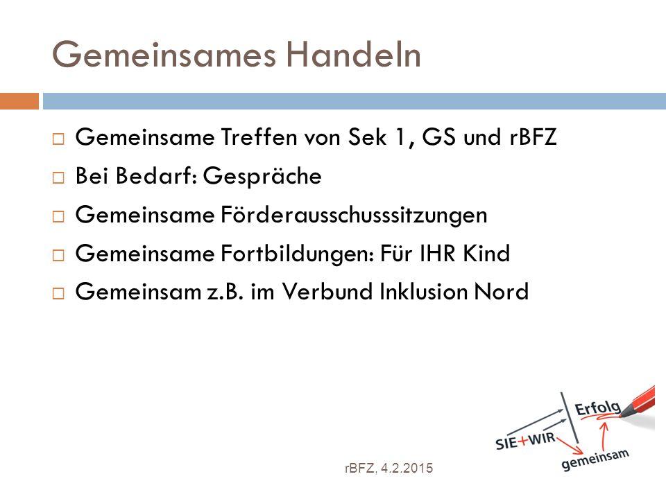 Gemeinsames Handeln Gemeinsame Treffen von Sek 1, GS und rBFZ