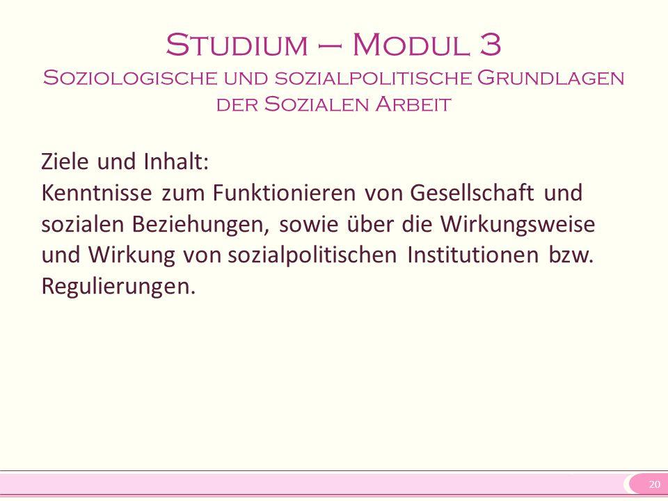 Studium – Modul 3 Soziologische und sozialpolitische Grundlagen der Sozialen Arbeit